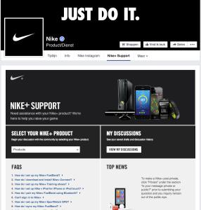 Nike+ support facebook app